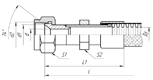 Г75. МРВД с арматурой «Ниппель сферический, накидная гайка с трубной цилиндрической резьбой»